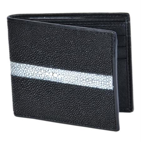 Product# STN9128 Wallet ~ billetera ~ CARTERAS Liquid Jet Black Genuine Stingray skin Rowstone Finish Card Holder Wallet