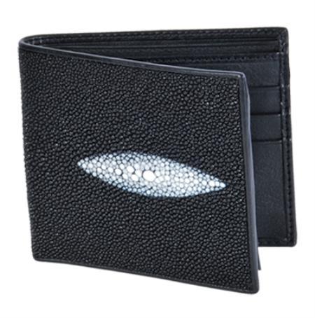 Product# HGI6811 Wallet ~ billetera ~ CARTERAS Liquid Jet Black Genuine Stingray skin Single Stone Finish Card Holder Wallet