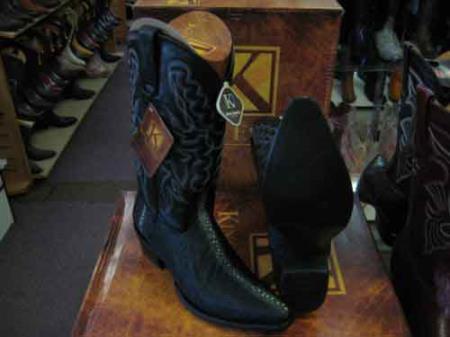 Product# SM200 King Exotic Liquid Jet Black Western Cowboy Boot Snip Toe Genuine Stingray skin EE+