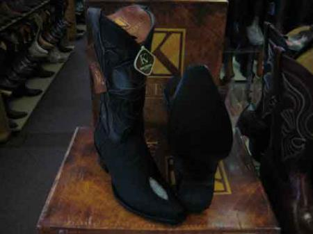 King Exotic Liquid Jet Black Genuine Stingray skin Snip Toe Western Cowboy Boot EE+
