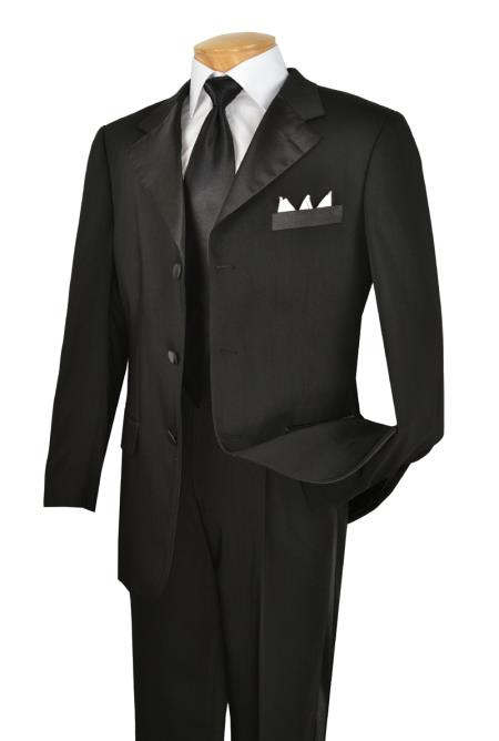 Product# BWW3 Liquid Jet Black 3 Button Style Year Round Tuxedo Big and tall Extra Long sizes Available Collection