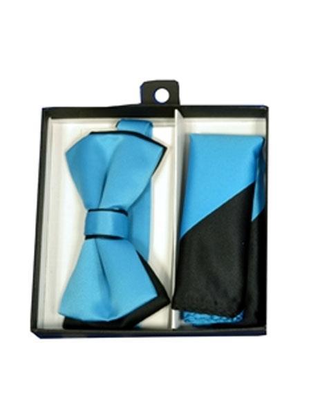 Mens Black/Turquoise Polyester Satin