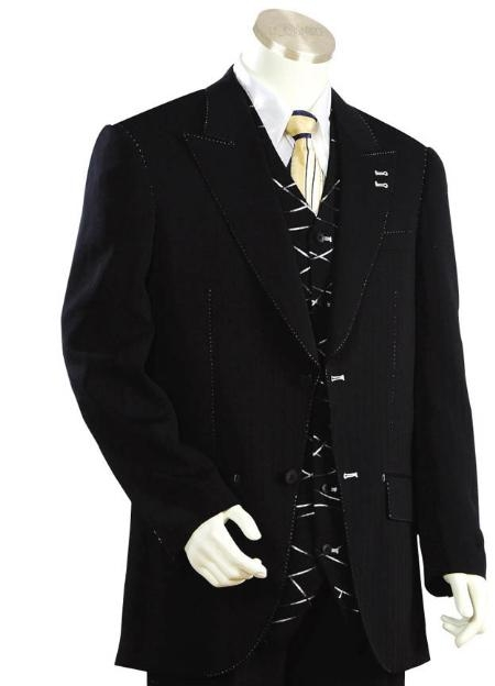 DS3321 Two Button Suits for Online Liquid Jet Black