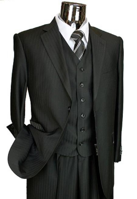 TY6011 Liquid Jet Black Tone on Tone 3pc 2 Button Style Italian Designer Suit Liquid Jet Black