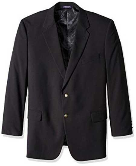 Liquid Jet Black 2 Button Style Single Breasted Portly Classic Notch Lapel Blazer Online Sale