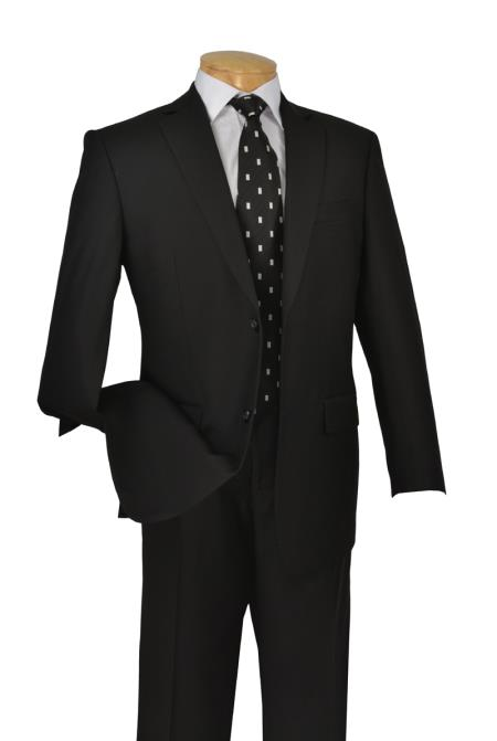 Product# KA5967 Liquid Jet Black 2 Button Style Italian Cut Suits for Online 2 Piece