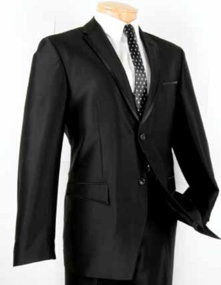SM6891 Single Breasted 2 Button Style Slim narrow Style Fit Suit Liquid Jet Black