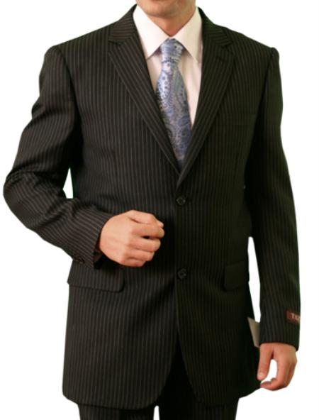 Product# M115000 Liquid Jet Black Stripe ~ Pinstripe 2 Button Style Front Closure Suit