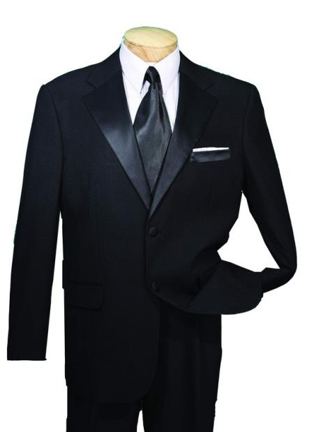 Liquid Jet Black Year Round Tuxedo Big and tall Extra Long sizes Available 2 Button Style Collection