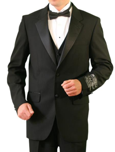 Product# BBW22 Liquid Jet Black Big and tall Extra Long sizes Available 2 Button Style Tuxedo