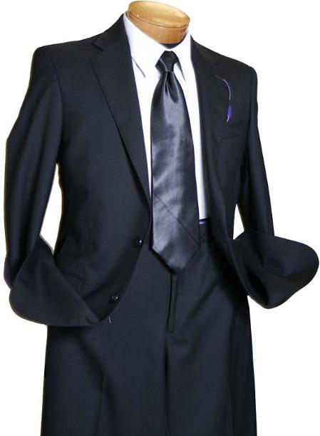 Liquid Jet Black 2 Button Style Wool Fabric Italian Design Suit