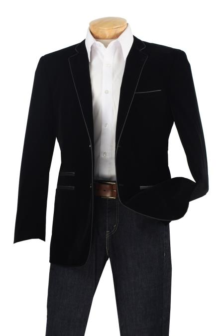 Product# P3CC Luxurious Velvet Slim narrow Style Sport Coat - Faux Leather Trim Liquid Jet Black
