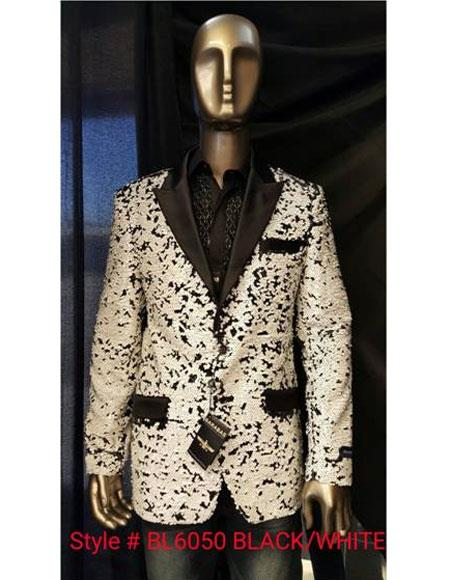 men's Black ~ White Fashion Unique Shiny Fashion Prom Sequin Paisley Blazer Sport coat Tuxedo Jacket  Perfect For Prom Clothe - Prom Outfits For Guys