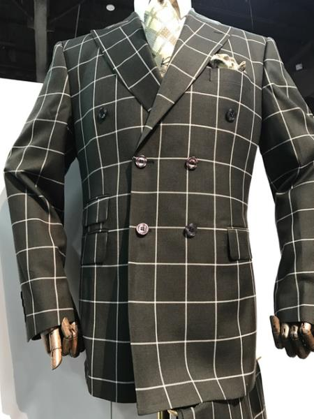 men's Black and White Pattern Plaid ~ Windowpane Double breasted Blazer ~ Sport Coat