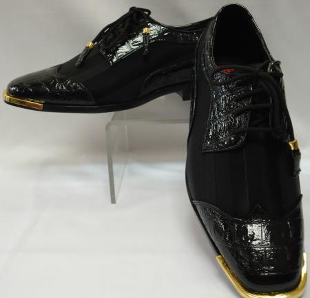 Product#AF-485 Cool Liquid Jet Black Wingtip Style Satin Goldtip Dress Shoes for Online