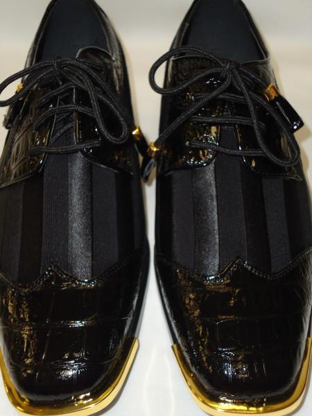 Product#PK943 Cool Liquid Jet Black Wingtip Style Satin Goldtip Dress Shoes for Online