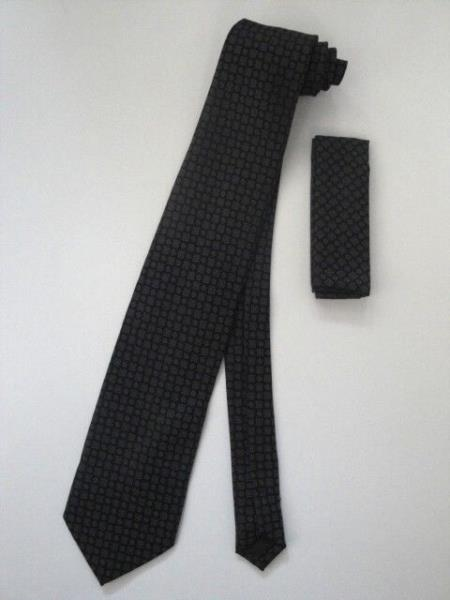 Product# KA7488 Neck Tie Set Liquid Jet Black With Gray Design