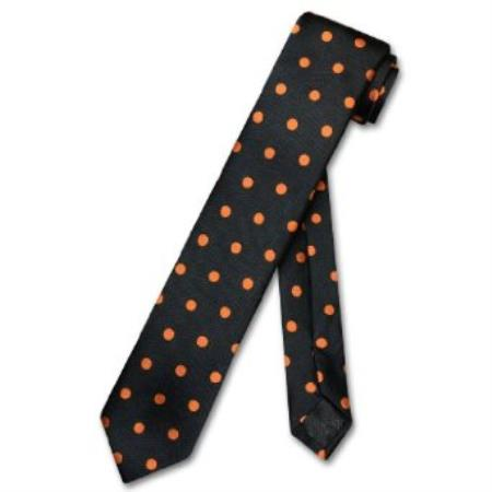 Product# MR7298 Skinny Liquid Jet Black w/ Orange Polka Dots 2.5