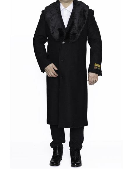 Product# CH1872 Mens Removable Fur Collar Full Length Wool Dress Top Coat / Overcoat in Black Authentic Reg:$700 Designer Alberto Nardoni Best Mens Italian Suits Brands now on Sale