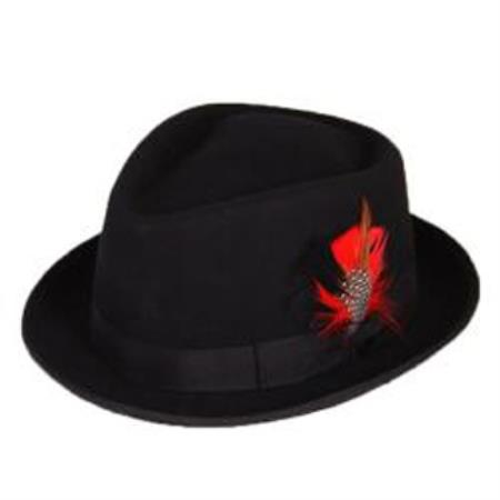 Product# PN82 Liquid Jet Black Wool Fabric Fedora suit hat