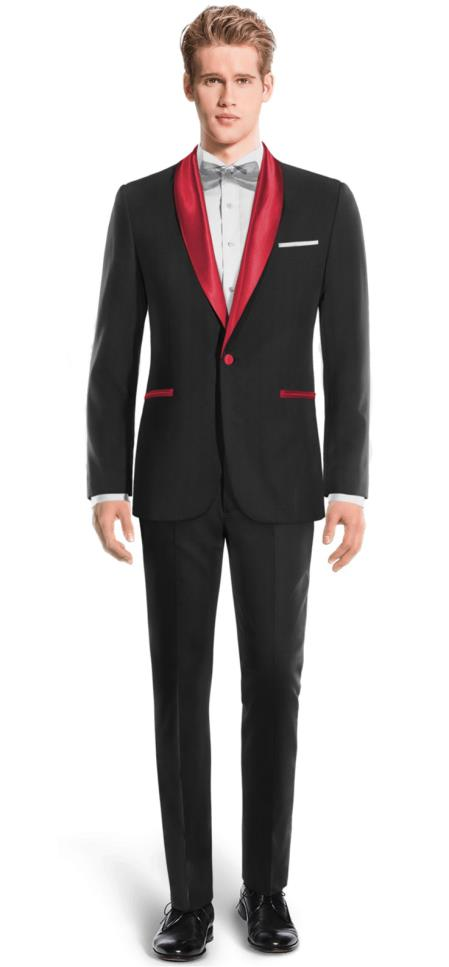 Men's Black And Red Two Toned Tuxedo Super 150s Wool Suit