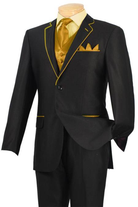 Product# GHV11 Tuxedo Liquid Jet Black Gold-Camel ~ Khaki Trim Microfiber Two Button Notch 5-Piece 7 days delivery