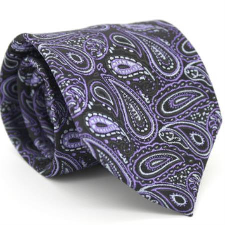 Product# KA8657 Slim narrow Style Liquid Jet Black & Purple color shade Classic Paisley Necktie with Matching Handkerchief - Tie Set