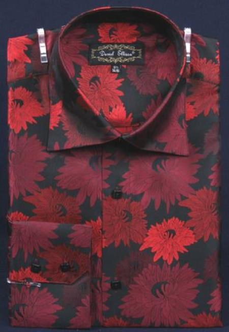 Fancy Polyester Dress Fashion Shirt With Button Cuff Liquid Jet Black / red color shade