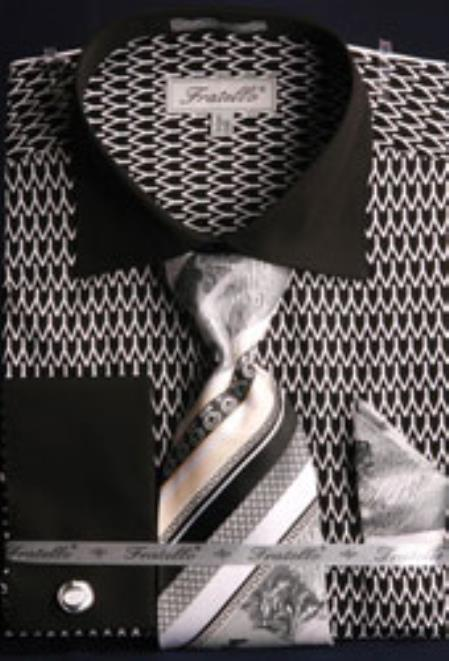Product# MK664 Fratello Big and Tall French Cuff Printed Pattern Liquid Jet Black and White Dress Shirt Big and Tall Sizes
