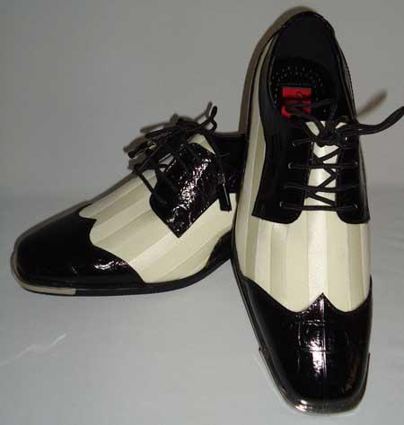Product#BC-97 Liquid Jet Black White Satin Formal Spectator Fashion Dress Shoes for Online