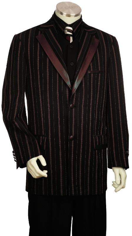 Product# JD5180 Luxurious 3 Piece Fashion Vested Unique Tuxedo Liquid Jet Black Wine burgundy Pleated Slacks Pants