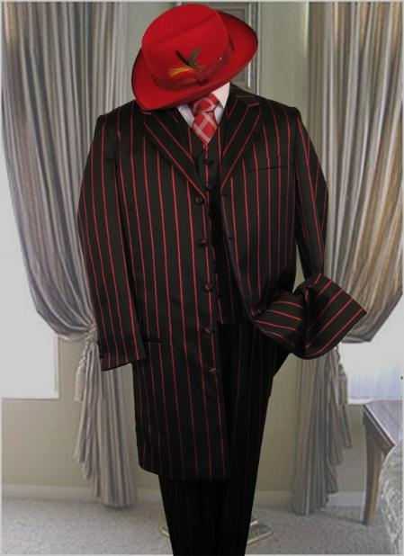 Product# GS731 Liquid Jet Black W/Red Pinstripe & pronounce visible Pronounce 3PC Fashion Long length Zoot Suit For sale ~ Pachuco Mens Suit Perfect for Wedding