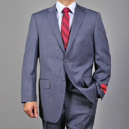 Mantoni patterned Blue 2-Button Wool Fabric Suit