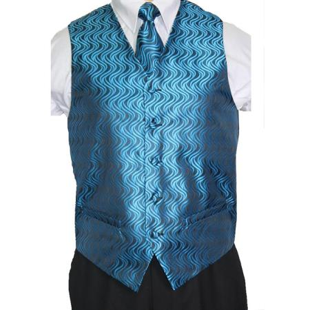 Blue/Black Vest Tie 4-Piece Accessory Set