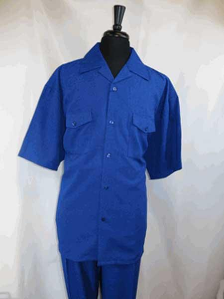 Product# SM1139 5 Buttons Short Sleeve Single Breasted Royal Blue Suit For Men Perfect  pastel color Walking Shirt With Pleated Slacks Pant Set