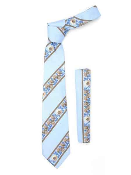 Floral Striped Baby Blue