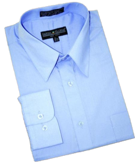 Product# BF768 Light Blue ~ Sky Blue Cotton Blend Dress Shirt With Convertible Cuffs
