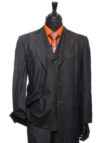 Blue Denim 3 Piece Athletic Cut 1940s men's Suits Style Classic Fit