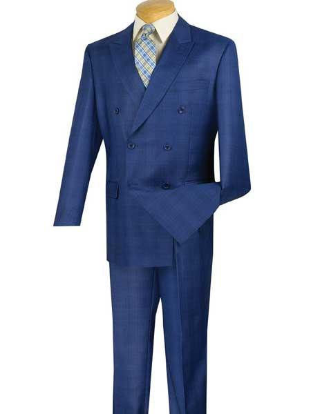 SM795 2 Piece Blue Peak Lapel Glen Plaid With Side Vent Double Breasted Suit