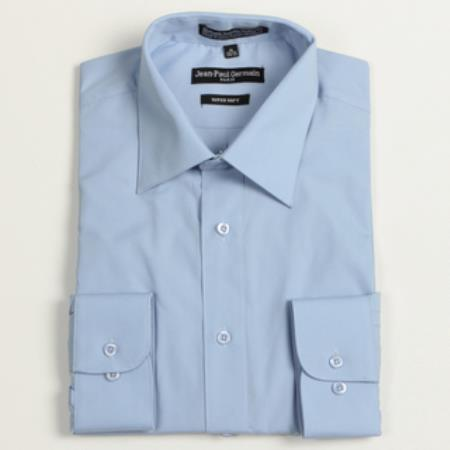 Product# TN-2837 Medium Blue Convertible Cuff Big & Tall Dress Shirt