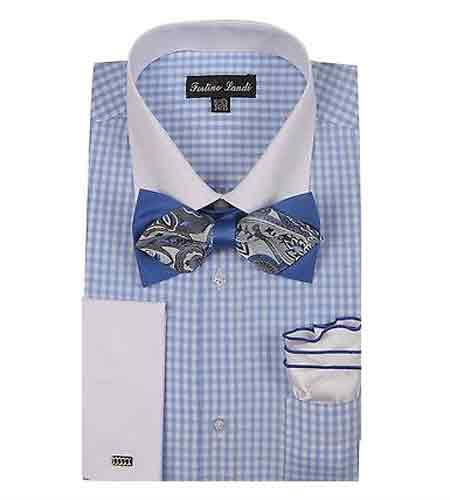 Product# SM1199 Blue Checks Design With Bow Tie And Hanky French Cuff Dress Shirt