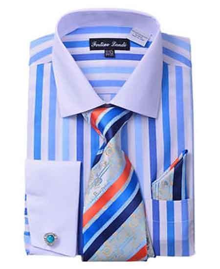 French Cuff Blue Striped