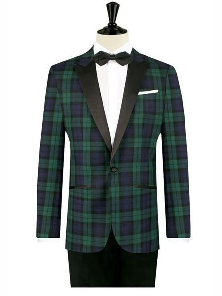 Product# MO450 Mens One Button Tartan Designed Slim Fit Tuxedo
