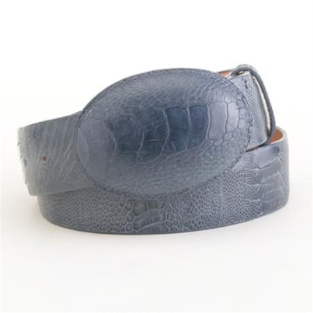 Product# QVA2 Blue Jean Ostrich Leg Belt