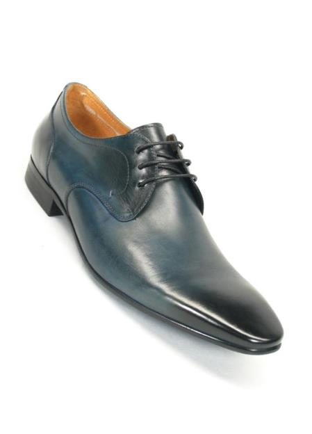 Product# SM5173 Carrucci Blue Lace Up Style Leather Lining Oxford Shoes