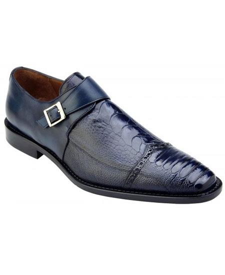 Product# GD1738 Men's Blue Genuine Ostrich & Italian Calfskin Monk Strap Loafer Shoes