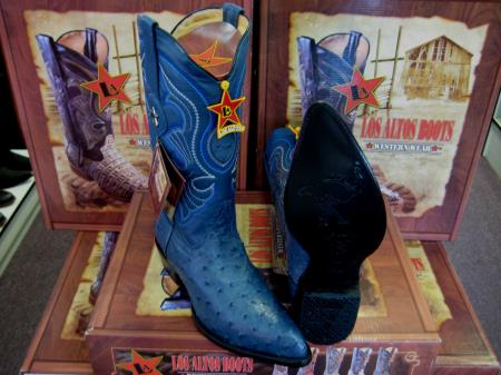 Product# 6HHH Authentic Los altos Jean Blue Genuine Full Quill Ostrich Western Cowboy Boot (EE)