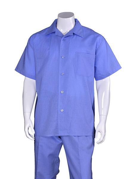 Mens Blue Plain Short
