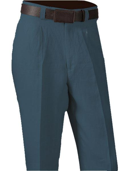 Product# SM875 China Blue 100% Linen Single Pleated Slacks Pant