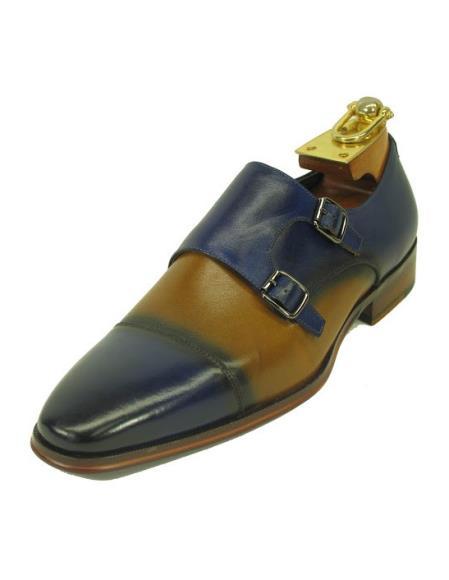 Mens Fashionable Carrucci Blue/Tan
